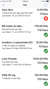 Pills list - the main screen for PillMinder