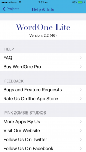 WordOne Lite iOS app Help & Info screen