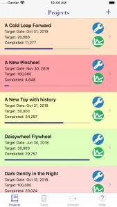 WriteOn iOS Projects screen