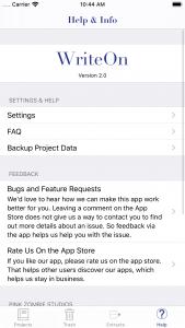 WriteOn iOS Help & Info screen
