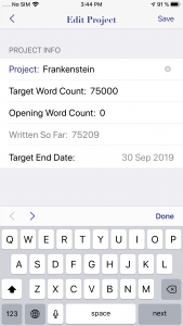 WriteOn iOS Edit project screen