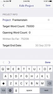 WriteOn iOS Edit project screen