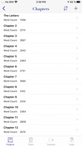 WriteOn iOS Chapters screen