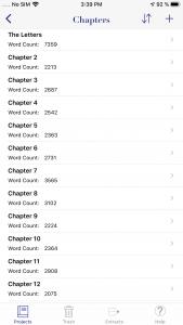 WriteOn iOS Chapters screen