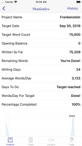 WriteOn iOS statistics screen