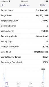 WriteOn iOS statistics screen