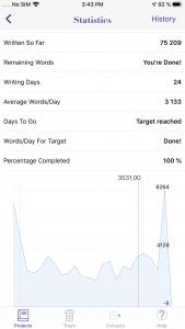 WriteOn iOS statistics screen, bottom