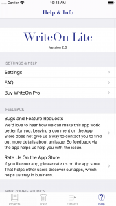 WriteOn Lite iOS Help & Info screen