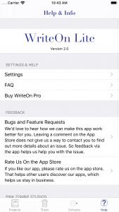 WriteOn Lite iOS Help & Info screen